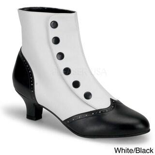 Bordello Women's 'FLORA-1023' Heel Button Spat Ankle Boots