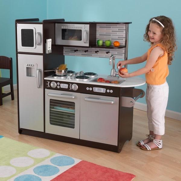kidkraft uptown silver espresso kitchen free shipping today overstock 15533489. Black Bedroom Furniture Sets. Home Design Ideas