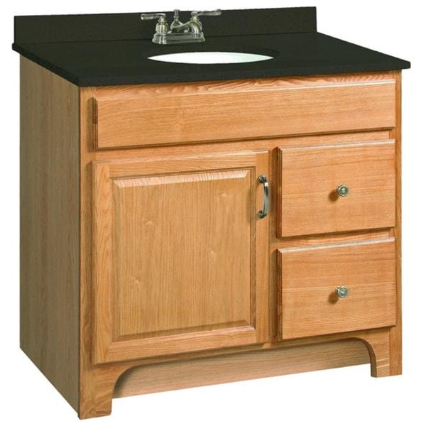 Shop design house 530402 richland nutmeg oak vanity - Small bathroom vanity with drawers ...