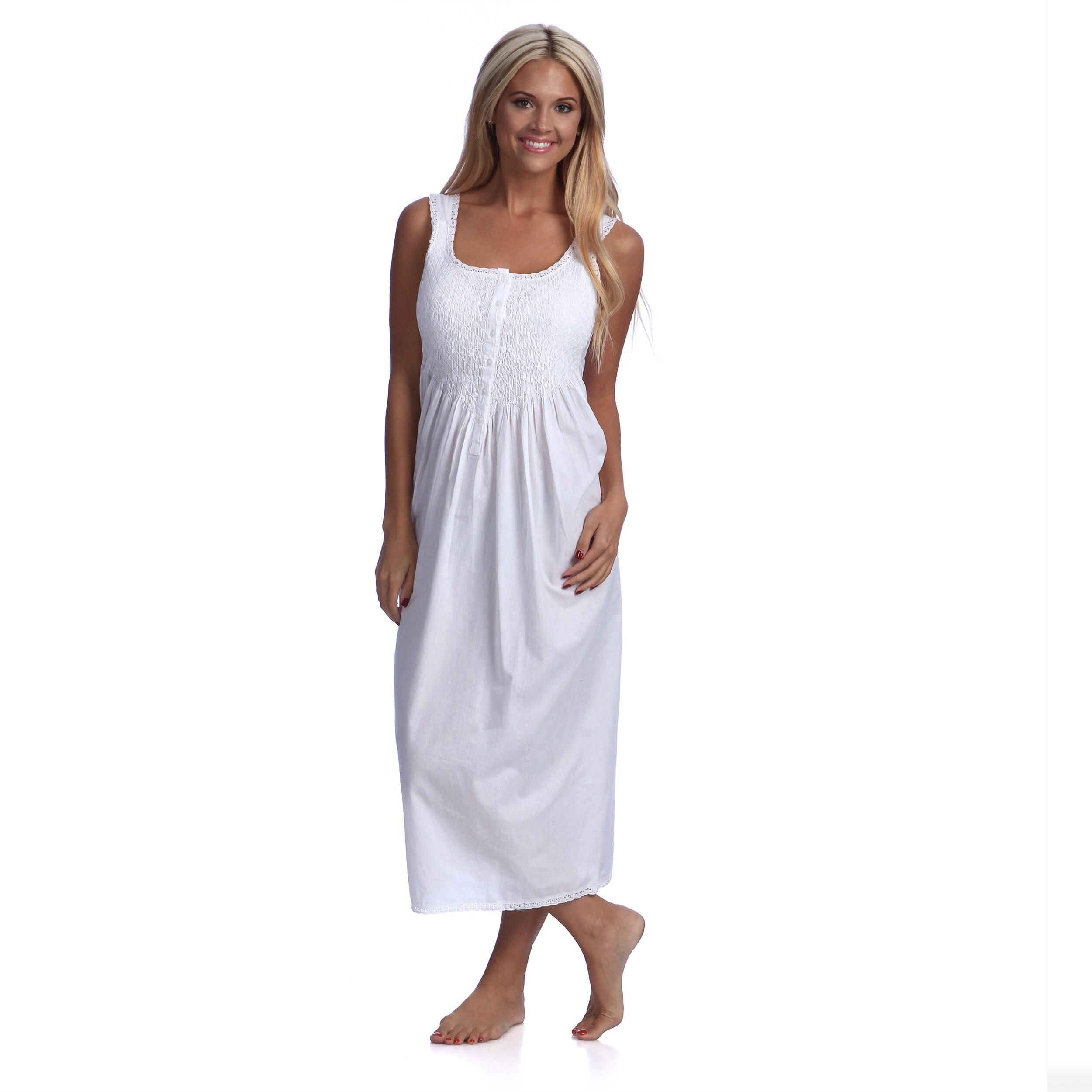 Saro Pure Cotton Full-Length Sleeveless Embroidered Night...