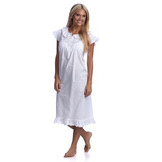 Embroidered Nightgown with Cap Sleeves