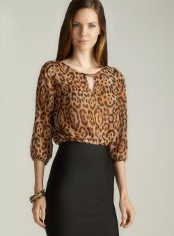 Sinequanone Hardware Keyhole Neckline Sheer Animal Printed Blouse