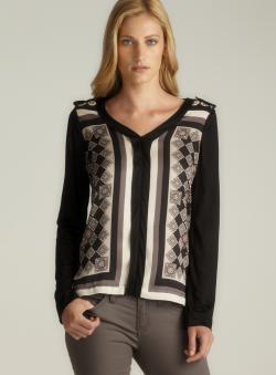 Sinequanone Long Sleeve V-Neck Printed Blouse