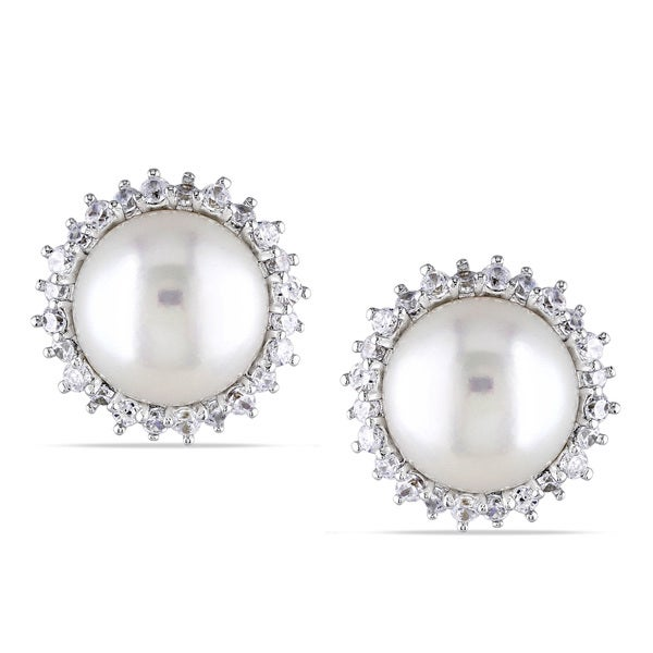Miadora Sterling Silver Freshwater Pearl and White Topaz Stud Earrings