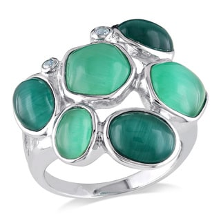Miadora Sterling Silver Green Cubic Zirconia and Simulated Cat Eye Ring