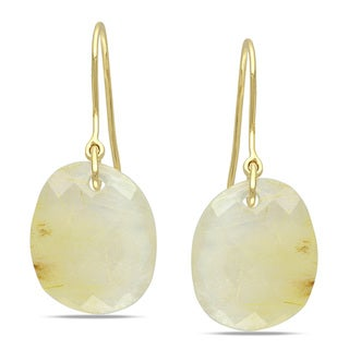 Miadora 10k Yellow Gold 20ct TGW Golden Rutile Charm Earrings