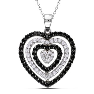 Miadora Sterling Silver Diamond, Black Spinel and Topaz Heart Necklace