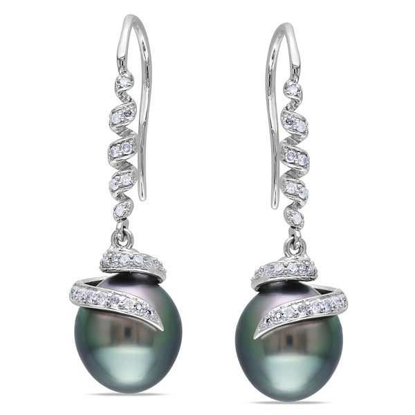 Miadora 14k White Gold Tahitian Pearl and 1/5ct TDW Diamond Spiral Drop Earrings (G-H, I1-I2) (9 - 9.5 mm)