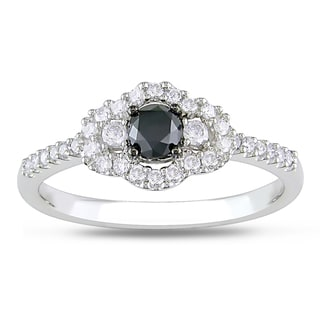 Miadora 10k White Gold 1/2ct TDW Round-cut Black and White Diamond Ring