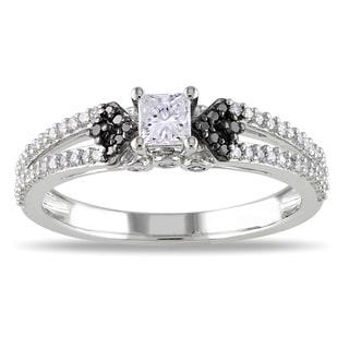 Miadora 10k White Gold 1/2ct TDW Black and White Diamond Ring
