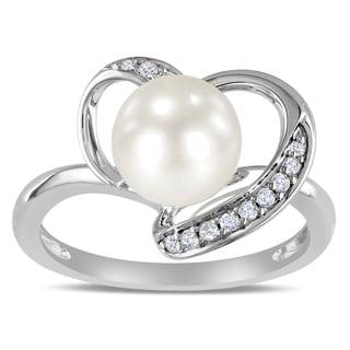 Miadora 10k White Gold White Cultured Freshwater Pearl and 1/10ct TDW Diamond Ring (H-I, I2-I3)