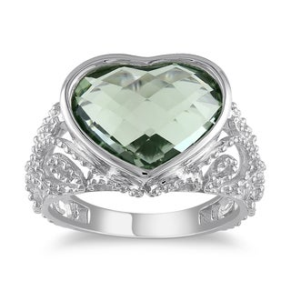Miadora Sterling Silver Green Amethyst Heart Ring