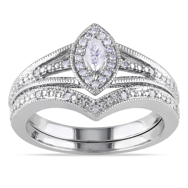 Miadora Sterling Silver 1/3ct TDW Diamond Bridal Ring Set