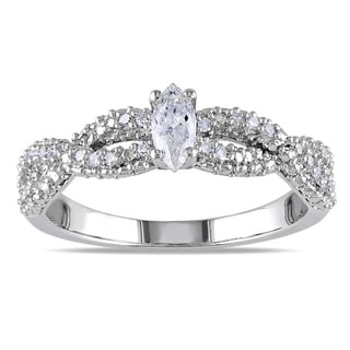 Miadora Sterling Silver 1/3ct TDW Marquise Braided Diamond Ring (G-H, I1-I2)