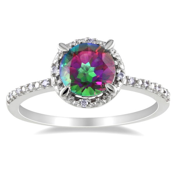 Miadora Sterling Silver Exotic Green Topaz and Diamond Ring