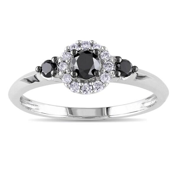 Miadora Sterling Silver 1/2ct TDW Black and White Round-cut  Diamond Ring