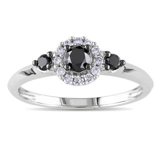 Miadora Sterling Silver 1/2ct TDW Black and White Round-cut Diamond Ring
