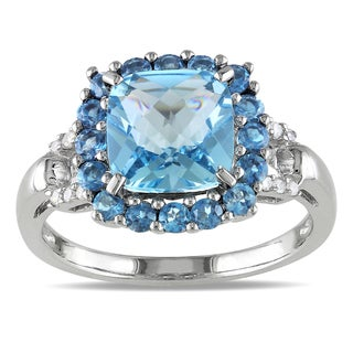 Miadora Sterling Silver Blue Topaz and Diamond Ring