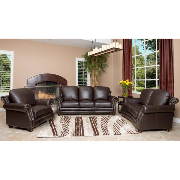 Abbyson Living Maxwell Top Grain Leather Sofa Loveseat And Armchair Set Free Shipping Today