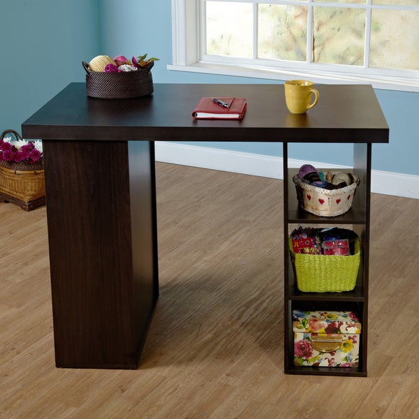 Art craft table storage desk computer gaming library nook for Counter height craft table with storage