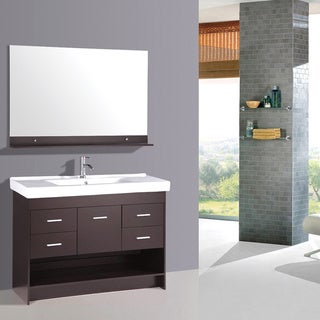 47.5-inch Espresso Single Sink Vanity Cabinet Set with Mirror and Faucet