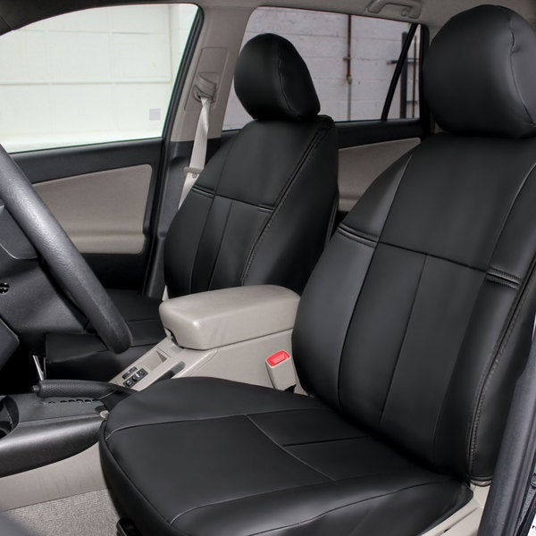 fh group custom fit black leatherette 2006 2010 toyota rav4 seat covers front set free. Black Bedroom Furniture Sets. Home Design Ideas