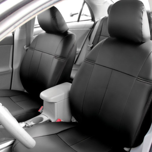 Seat Covers Front Set Fh Group Custom Fit Black Leatherette 2009 2017 Toyota Corolla