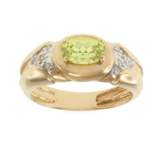 Michael Valitutti 14k Yellow Gold Chrysoberyl and Diamond Ring