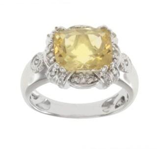Michael Valitutti 14k White Gold Scapolite and Diamond Ring