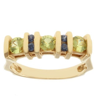Michael Valitutti 14k Yellow Gold Chrysoberyl and Blue Sapphire Ring