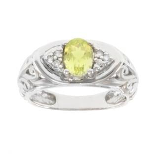 Michael Valitutti 14k White Gold Chrysoberyl and Diamond Ring