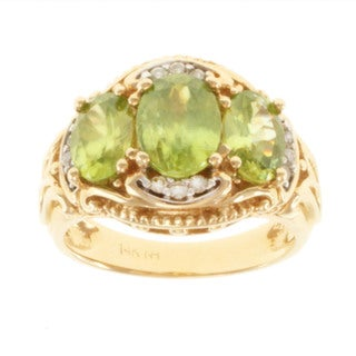 Michael Valitutti 14k Yellow Gold Titanite and Diamond Ring