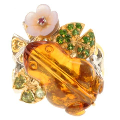 "Michael Valitutti Two-tone Carved Amber, Shell, Peridot, Chrome Diopside and Pink Sapphire ""Frog"" Ring"