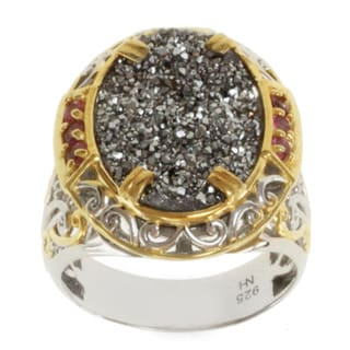 Michael Valitutti Two-tone Platinum Druzy and Pink Tourmaline Ring