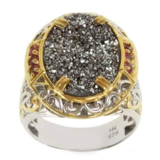 Michael Valitutti Two-tone Platinum Druzy and Pink Tourmaline Ring|https://ak1.ostkcdn.com/images/products/8199708/P15533886.jpg?impolicy=medium