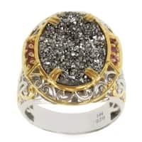 Michael Valitutti Two-tone Platinum Druzy and Pink Tourmaline Ring