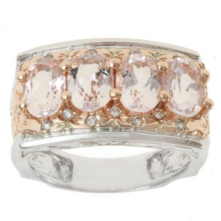 Michael Valitutti 14K Two-tone Gold Oval-cut Morganite and Diamond Ring