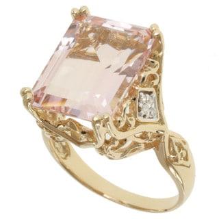 Michael Valitutti 14k Yellow Gold Morganite and Diamond Ring