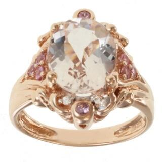 Michael Valitutti 14k Rose Gold Morganite, Pink Sapphire and Diamond Ring