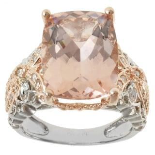 Michael Valitutti 14K Two-tone Gold Cushion-cut Pink Morganite and Diamond Ring