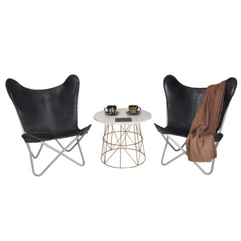 Carbon Loft Larkin Black Leather Butterfly Chair