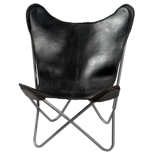Black Leather Butterfly Chair   Free Shipping Today   Overstock.com    15533944