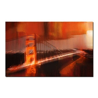 Ready2HangArt 'City Bridge Abstract' Gallery-wrapped Canvas Wall Art