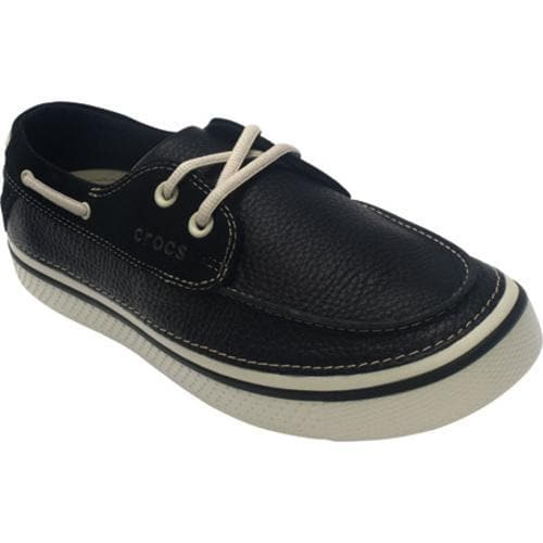 f80a36f66 Shop Men s Crocs Hover Leather Boat Shoe Black Stucco - Free Shipping Today  - Overstock - 8053005