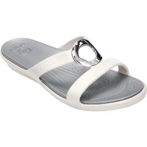 Women's Crocs Sanrah Patent Sandal Oyster/Silver