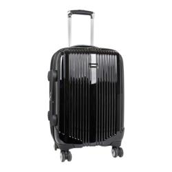 J World 20in Expandable Double Spinner Polycarbonate Luggag Black