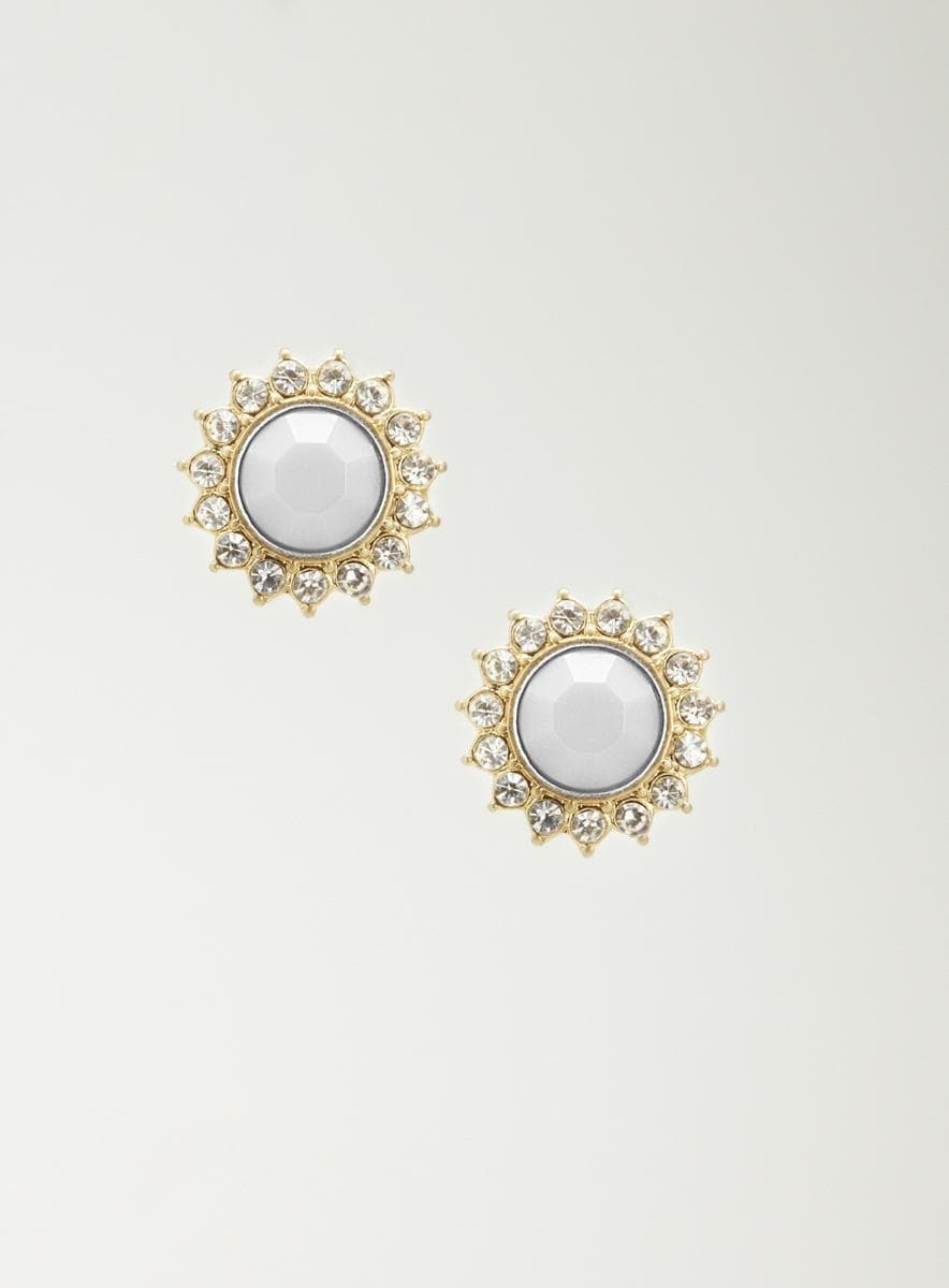 Lydell Round Crystal Studded Earrings
