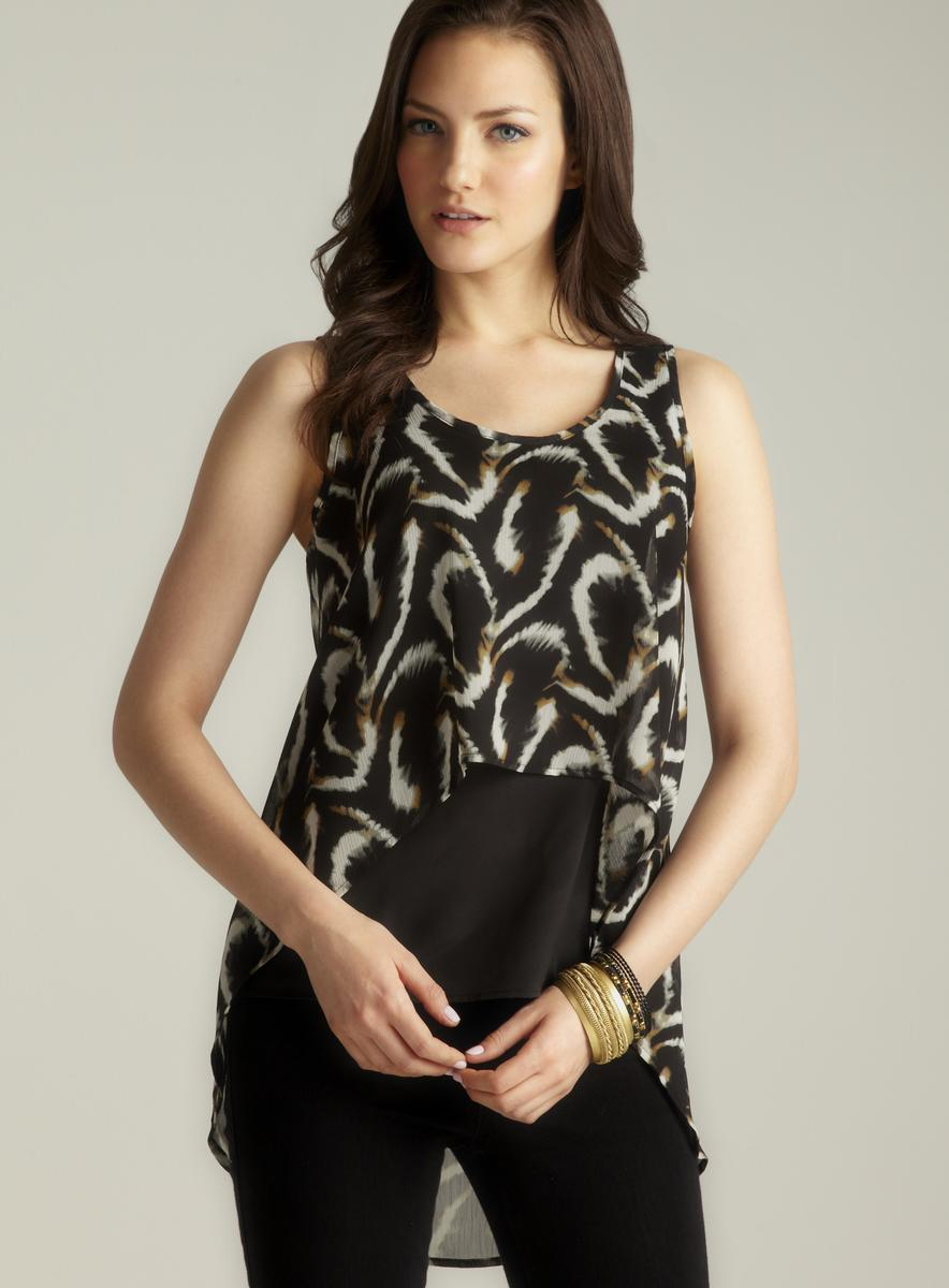 Romeo & Juliet Couture Hi-lo Back Draped Printed Top