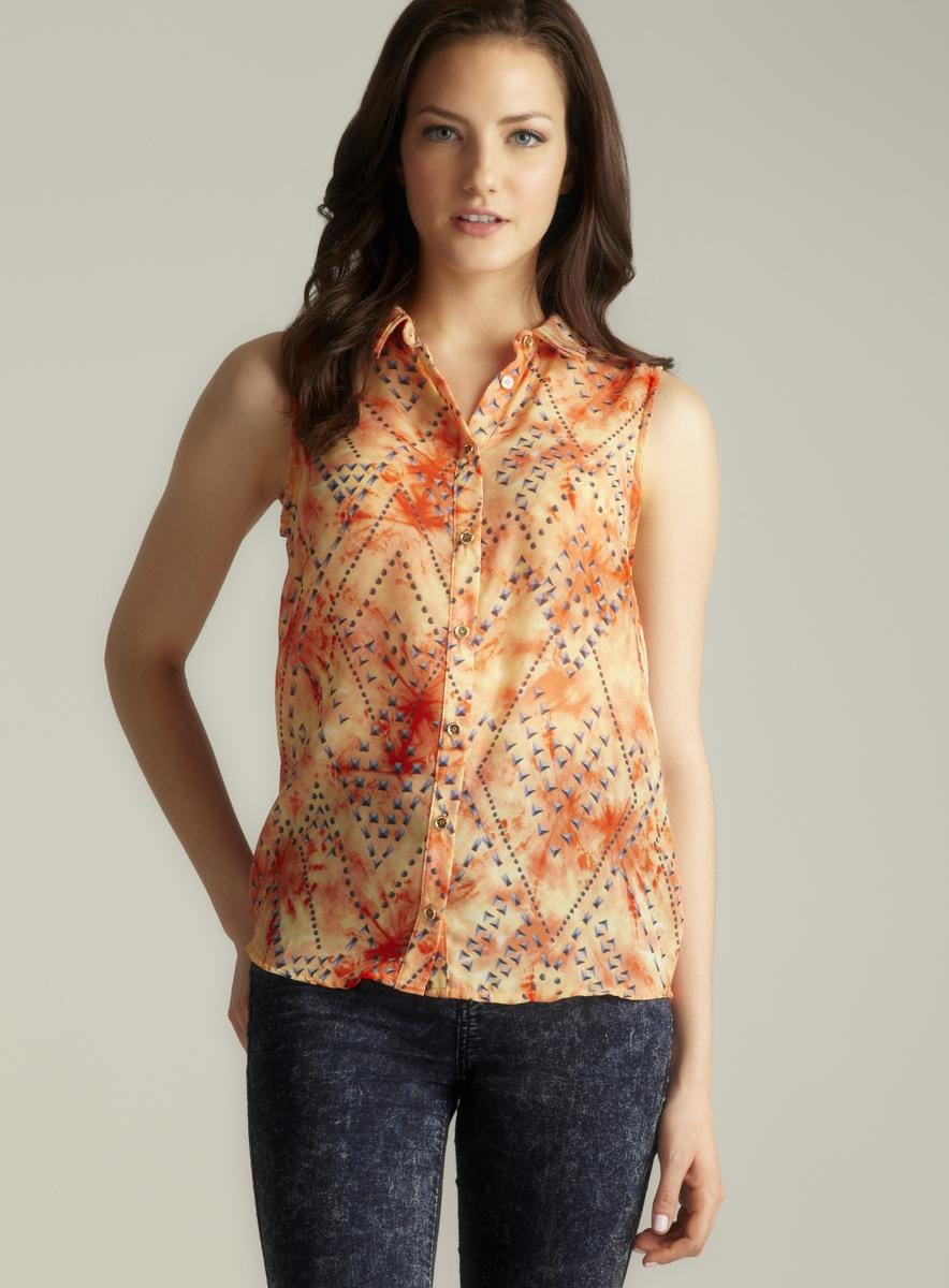 Romeo & Juliet Couture Sheer Sleeveless Printed Button Down