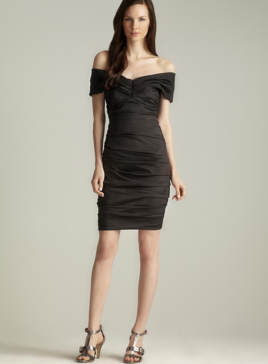 Theia Taffeta Off The Shoulder Dress
